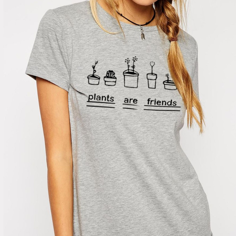 a8e0b58f3 Summer Women T Shirts Graphic Top Tees Plants Are Friends Woman T shirt  Bodysuit Tee Shirts Short Sleeve Top-in T-Shirts from Women's Clothing on  ...