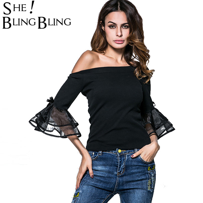 SheBlingBling Tiered Shirts Womens Off The Shoulder Mesh Cuff Solid Color Blouses Spring Summer Fashion Tops