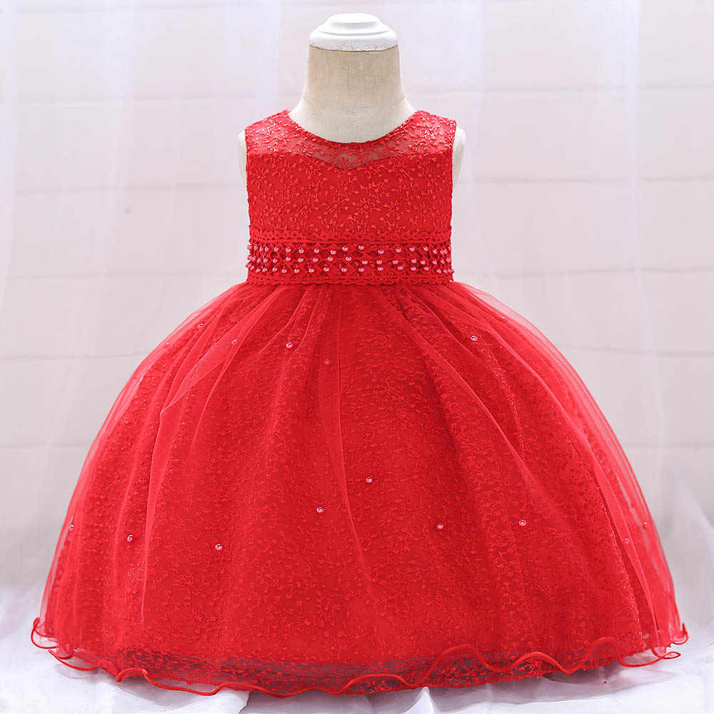 Baby Girl Party Ball Gown Dresses Newborn Baby Baptism Dress Baby Girl Wedding Beading Dress L1859XZ