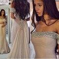 2015 Venta Caliente de Brown de La Gasa Mujeres de La Muchacha Larga Vestidos Vestido 2016 Formal Noche de La Sirena Vestido de Fiesta Tren de Marcha
