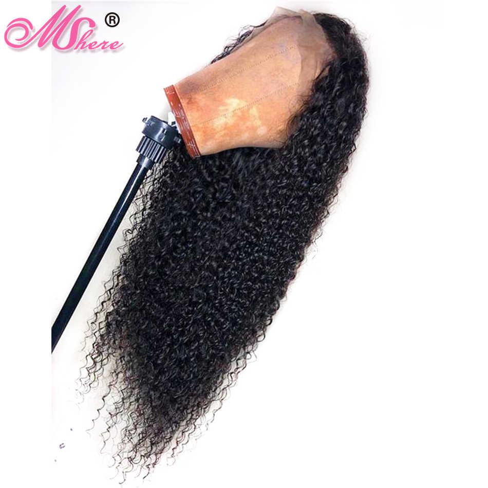 Mshere человеческие волосы на кружеве Wigs13X4 глубокие кудрявые человеческие волосы парик с волосами младенца 150% бразильский парик из натуральных волос предварительно сорвал волосы remy