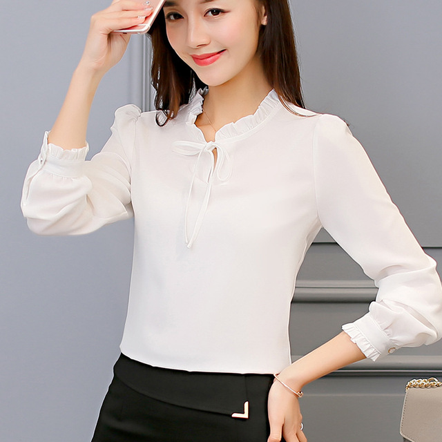 Long Sleeve Chiffon Blouse 2019 New Fashion Spring Summer Blouse Women Plus Size Casual Elegant Princess Office Tops Tees Female