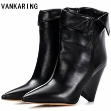 VANKARING brand shoes autumn winter shoes woman genuine leather high heel ankle boots pointed toe shoes riding boots black shoes vankaring punk rivets fashion ankle boots square heel autumn winter boots women genuine leather fretwork ladies red riding boots