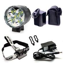 20000mAh 26650 Battery Pack 5T6 Bicycle Light 7000 Lumen 5xCREE XM-L T6 LED Mountain Bike Light Headlamp with Charger & headband