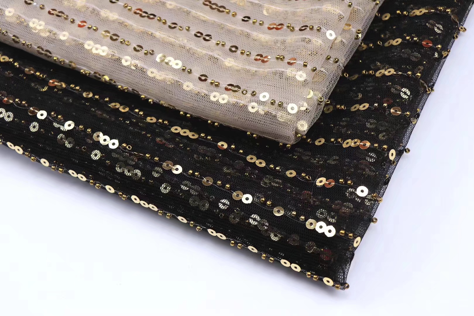 BEAUTIFICAL sequins lace fabric african tulle lace fabrics black mesh lace fabric with gold sequins for dress 5yards lot RFN96 in Lace from Home Garden