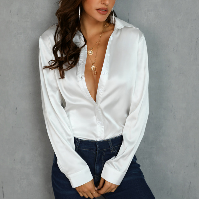 Fashion White Satin Silk Blouse Ladies Casual Long Sleeve Button Turndown Collar Silk Satin blouses shirts
