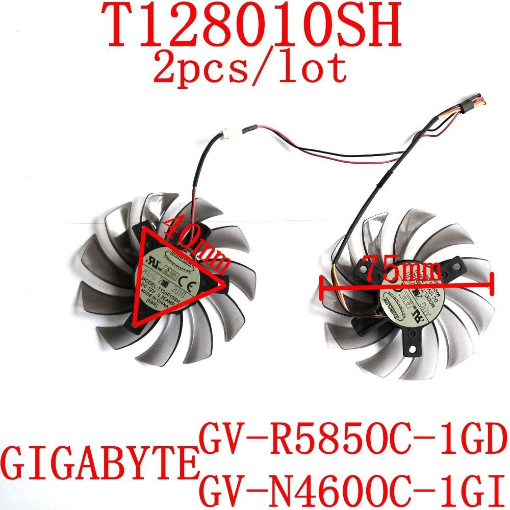 Free Shipping 2pcs/lot T128010SH DC12V 0.25A for Gigabyte GV-R585OC-1GD Gigabyte GV-N460OC-1GI graphics card fan