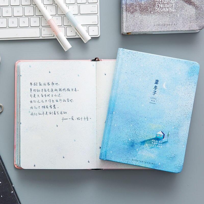 Páginas de cor tendência criativa a5 caderno pouco azul casa diário livro capa dura diário artigos de papelaria material escolar