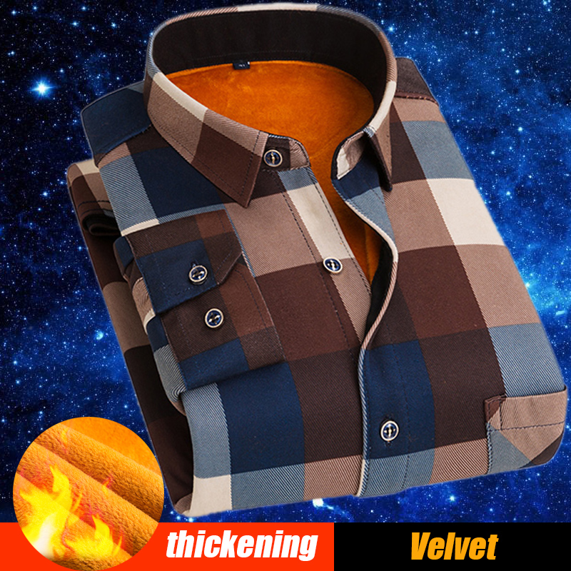 T Bird Men Shirt Long Sleeve Plaid Casual Shirt With Thick Velvet Mens Brand Autumn Cotton
