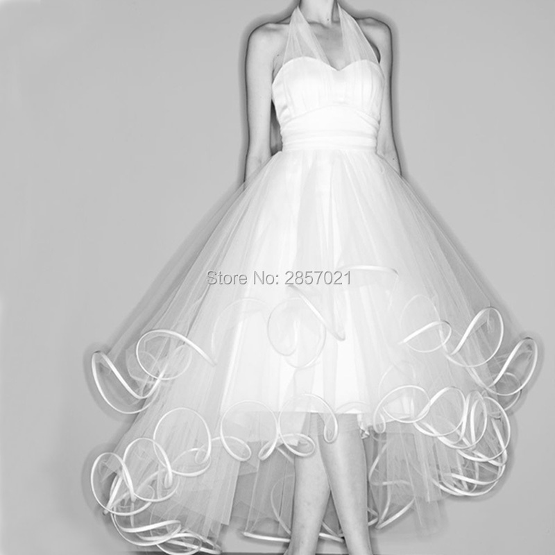 025ff3dd3fa70d Vestido Cocktail 2017 Marilyn Monroe White Organza Prom Dresses High Low  Style Cocktail Dress Sexy Halter Formal Party Gowns