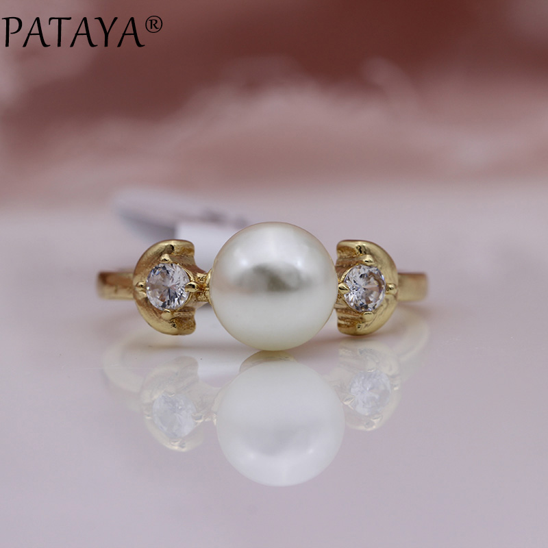 PATAYA New Champagne Gold Imitation Pearls Round Natural Zircon Rings Women Wedding Party Jewelry Leaf shape Girls Cute Ring