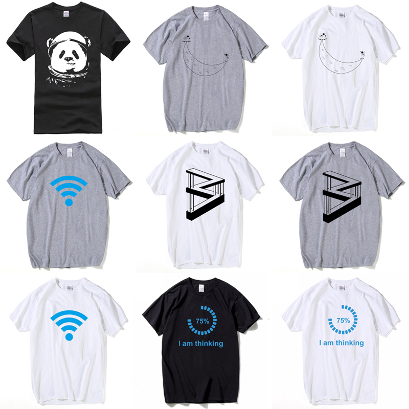 HanHent Funny T shirts Men Summer Fashion Moon Print Tshirt Casual Short Sleeve O neck T