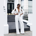 Free Shipping! Top Fashion Deep Vneck white Cap Sleeves cloak decoration Bodycon Jumpsuit Women Rompers lady boot cut jumpsuit