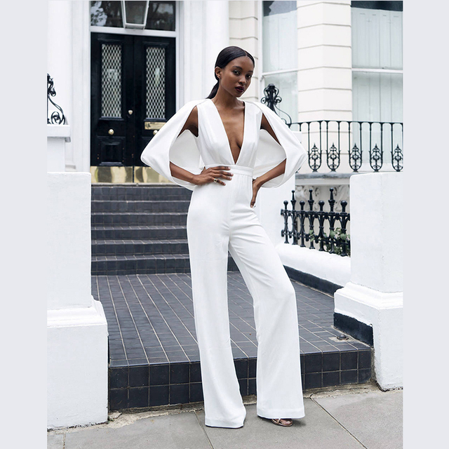 Frete Grátis! Top Fashion Profunda Vneck branco Mangas manto decoração Bodycon Jumpsuit Mulheres Macacão senhora bota corte macacão