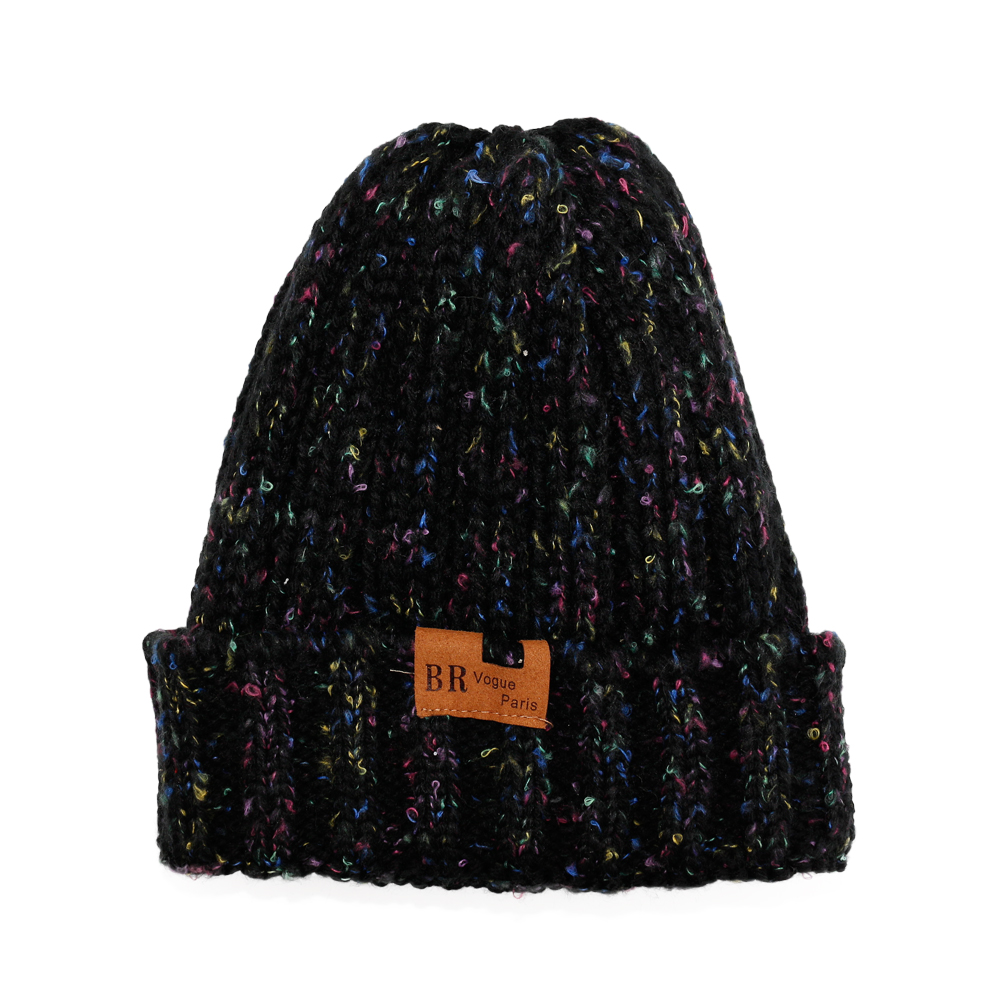 2018 Winter Solid Knitted Thick Beanie Hats With Colourful Point For ... cfce6968e96