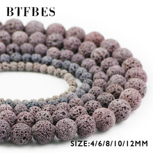 BTFBES Natural Stone Gray Color Lava Beads 4 6 8 10 12mm Round Grey Volcanic Rock Loose Beads For Jewelry Bracelet Making DIY цена 2017