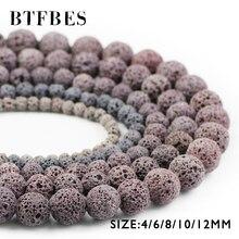 купить BTFBES Natural Stone Gray Color Lava Beads 4 6 8 10 12mm Round Grey Volcanic Rock Loose Beads For Jewelry Bracelet Making DIY дешево