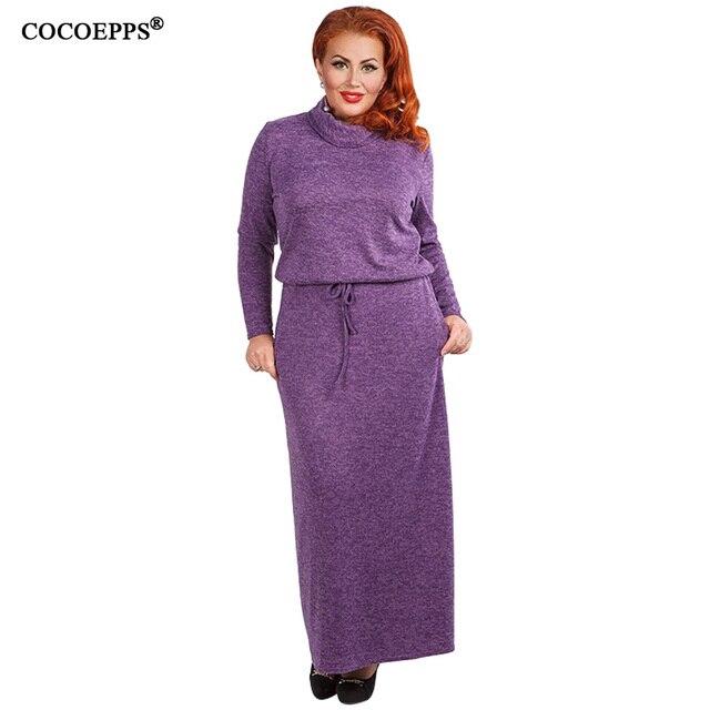7eebbe0d770 2019 5XL 6XL большой размер женское длинное платье Осень Зима повседневные платье  макси большие размеры платье