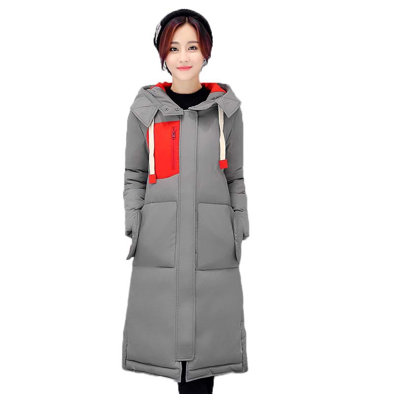 New Female Wadded Jacket 2017 Winter Slim X-Long Warm Cotton-padded Coat Casual Hooded Women Parkas Plus Size PW0703 2017 new winter coat for women slim black solid hooded long warm cotton parkas female thicker zipper red jacket padded