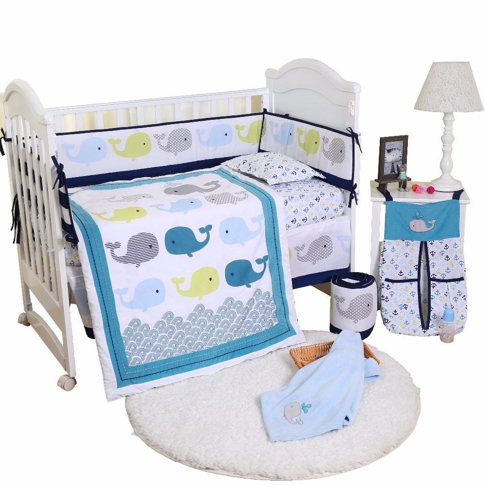 Baby Cradle Sheets Us 65 99 Whale Baby Bedding Set Children 4 Pcs Set Baby Cot Cotton Bedding Sheets In Bedding Sets From Mother Kids On Aliexpress Alibaba