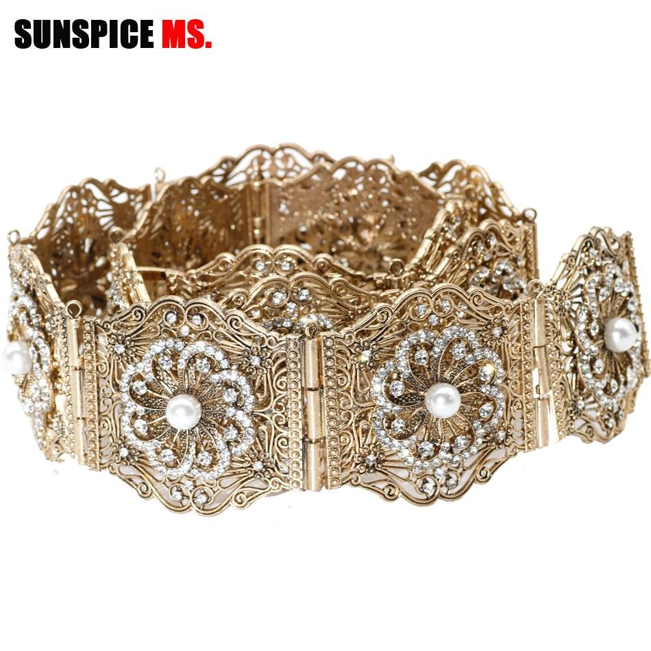 Sunspicems Antique Gold Color Metal Women Belt Chain Full Rhinestones Artificial Pearl Adjustable Length Morocco Caftan Belt