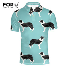 FORUDESIGNS Men Border Collie Print  Shirt Teens Animal Dogs Pattern Standing Collar Short Sleeve for Male Summer Tops