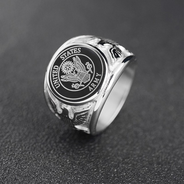 RIR USA Military Ring United States MARINE CORPS US ARMY Men Signet Rings Fashion Stainless Steel Jewelry 1