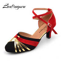 Ladingwu Women's Closed Pointe Shoes Women's Latin Dance Shoes For Ballroom Dancing Color Blue/Green/Red Flannel Heel 5/6/7cm