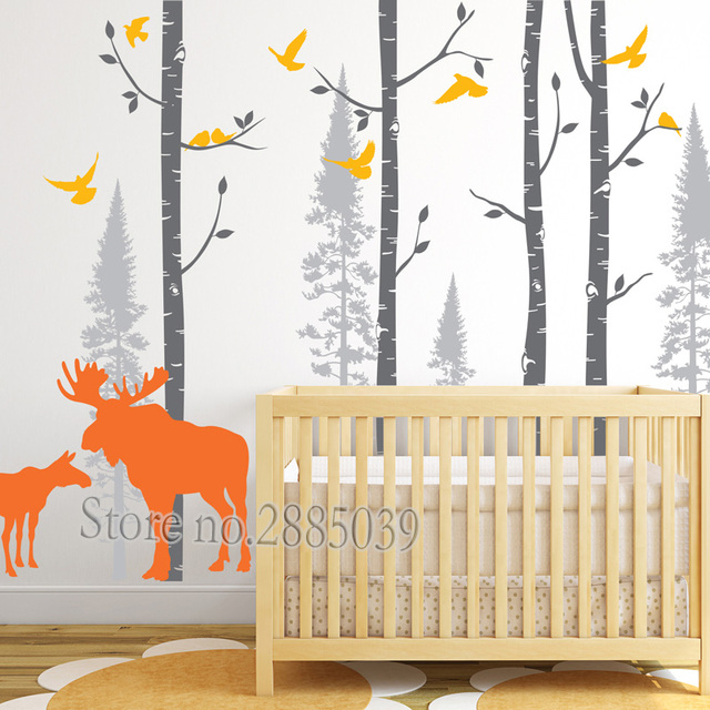 Wall Stickers Tree Moose And Birch Decal Forest Art Living Room Sofa