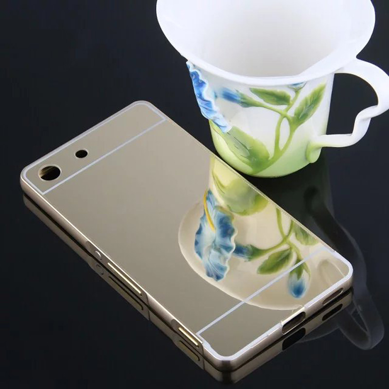 For Sony M5 Case Mirror Back Cover Case Aluminum Metal Frame Bumper For Sony Xperia M5 Dual E5603 E5606 E5653 Mirror Cases Coque