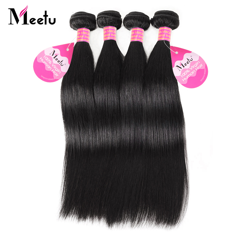 Meetu Indian Straight Hair Bundles Human Hair Extensions 4 Bundles Deal Non Remy 8 28 inch