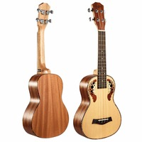 23 Inch Ukulele Carved Pattern Spruce Tree Peach Flower Core Acoustic Guitar Grape Hole Four Strings