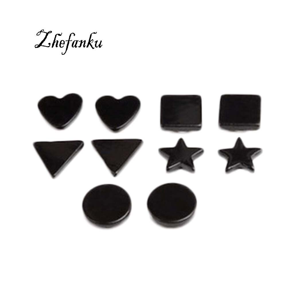 New font b Fashion b font Personality Earrings Wild Men Pentagram Earrings Magnet Geometry font b
