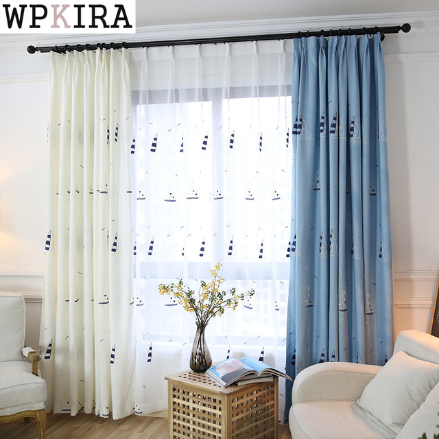 Blue Embroidered Curtains For Living Room Blue Shiny Drapes For Bedroom  Custom Size Window Panels Shade