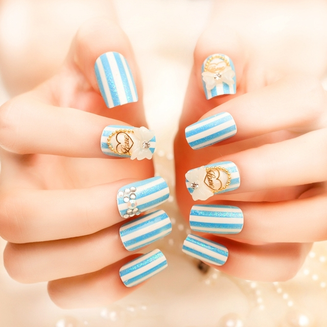 Cute Navy Fake Nails White Stripe Baby Blue 3DBow Gold Beads Chain ...