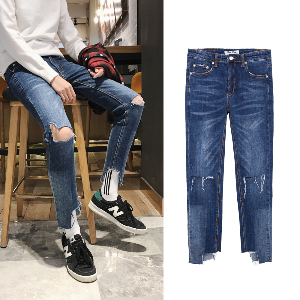 2018 Spring New Mens Fashion Tide Cowboy Bound Feet Pants Holes Decoration Slim Casual Blue Color Jeans Trousers Male M-2XL