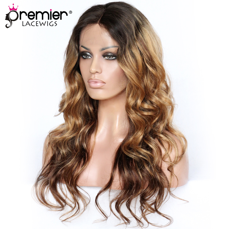 PREMIER LACE WIGS Rihanna Inspired Long Glamorous Ombre Wavy Human Hair Lace Front Wigs [CLFW-07]