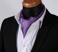 RF310PS Purple Paisley  Ascot Tie Pocket Square Woven Men Party wedding Tie Necktie Handkerchief Set 3
