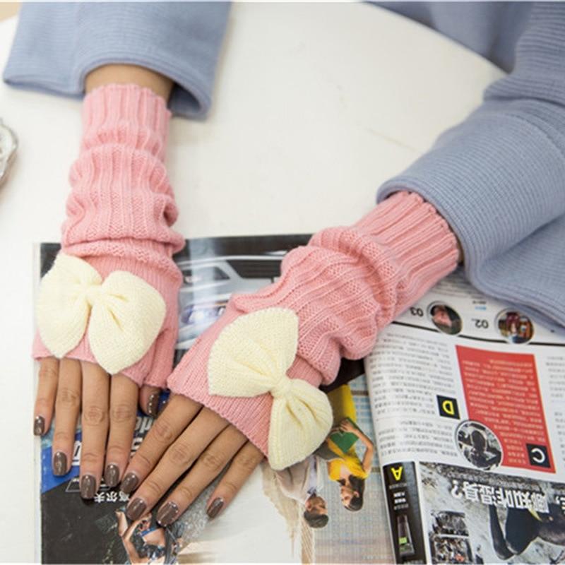 Energisch Mode Winter Frauen Handschuhe Bowknot Handgelenk Arm Warmer Lange Halbhand Stricken Handschuh üPpiges Design Damen-accessoires Bekleidung Zubehör