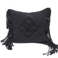 Macrame throw pillow cover Handmade macrame BOHO cushion cover Black cushion cover Customized size throw pillow cover