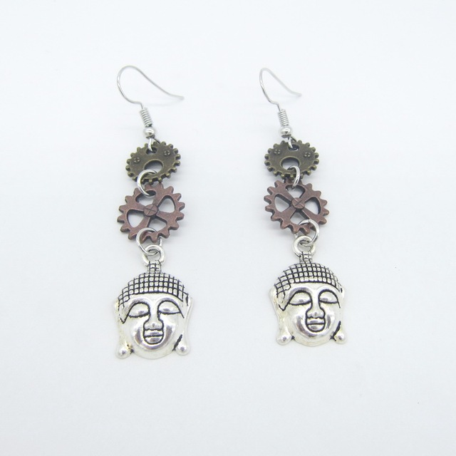 Three Vitnage Colors Gears And Buddha Linked Women S Steampunk Earring