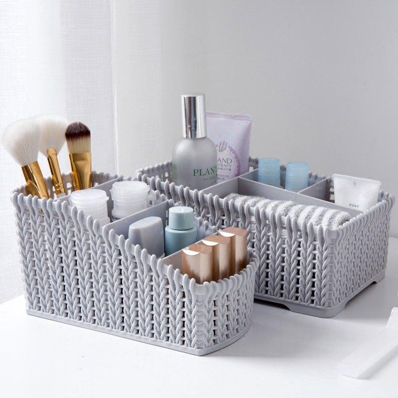 Imitation rattan multi - grid storage box cosmetics finishing box desktop remote control stationery storage box