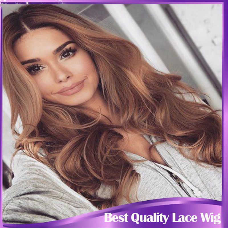 ФОТО Long Body Wave Medium Brown Synthetic Lace Front Wig Glueless Malaysian Body Wave Heat Resistant Lace Front Synthetic Wave Wigs