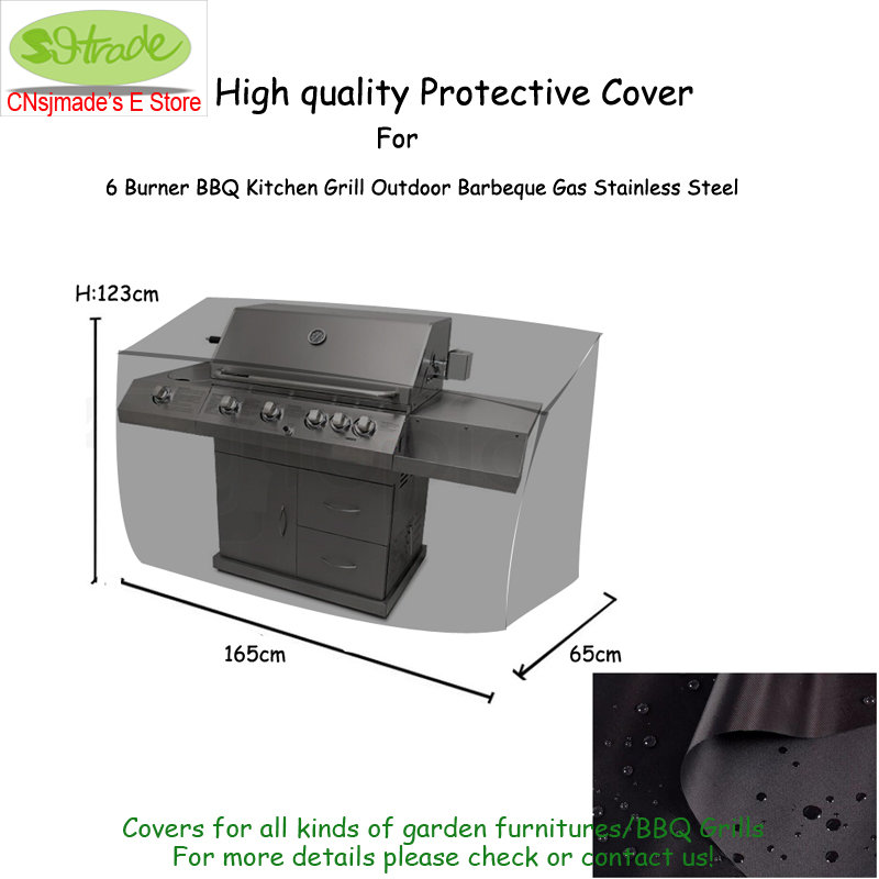 Outdoor Kitchen Protective Cover 165x65x123cm Durable Oxford fabric Black color Water proofed Patio BBQ grill cover