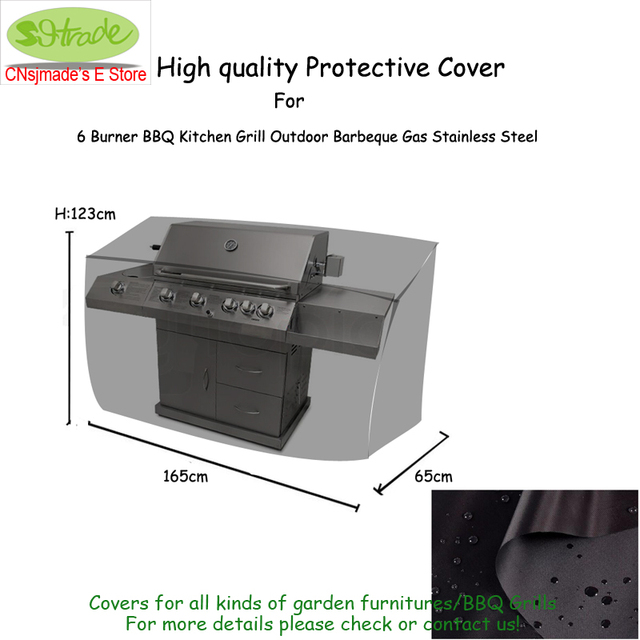 Outdoor Kitchen Protective Cover 165x65x123cm,Durable Oxford Fabric,Black  Color, Water Proofed Patio
