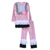 Persnickety Remake Baby Girls Spring Clothing Pink Damask Lace Bib Top Lace Ruffle Pants Kids Boutique