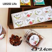 LBSISI Life 108 шт. овальная Цветочная наклейка «спасибо» для печенья, торта, конфет, мешков, этикеток, креативная бумага, клейкая декоративная наклейка s