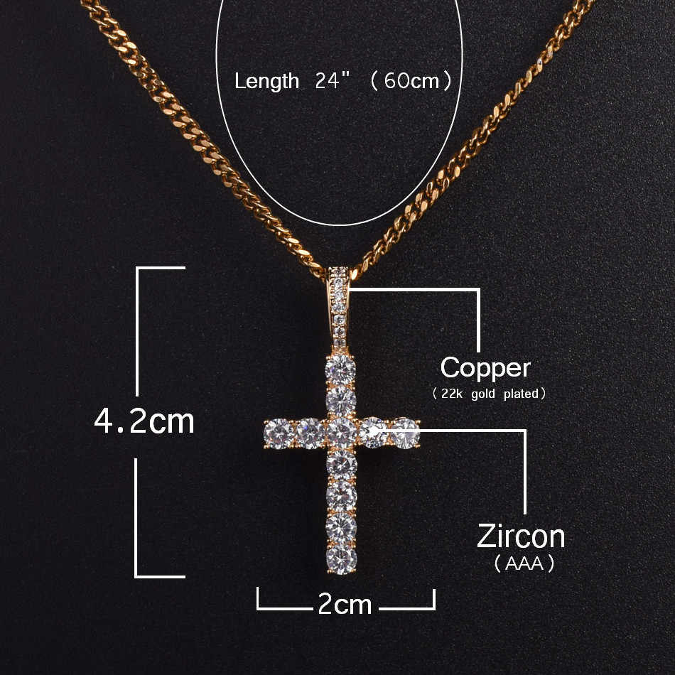 เย็น Zircon Ankh Cross สร้อยคอทองเงินทองแดงวัสดุ CZ Key ชีวิตอียิปต์ Cross สร้อยคอ Hip Hop เครื่องประดับ