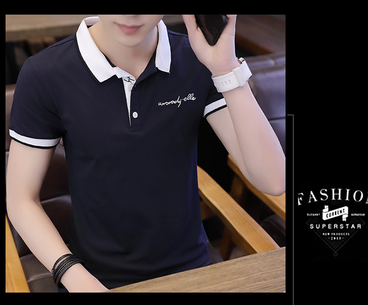 2019 men splicing t-shirts with short sleeves Comfortable in summer youth leisure lapel t-shirts 19