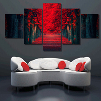 5 Piece Picture Hot Abstract Beautiful Red Woods Modern Home Wall Decor Painting Canvas Art HD Print Painting For Living Room